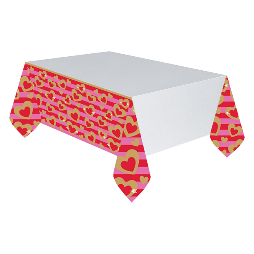 Hearts Paper Tablecover Gold & Red Valentines Day Party Tablecover ...
