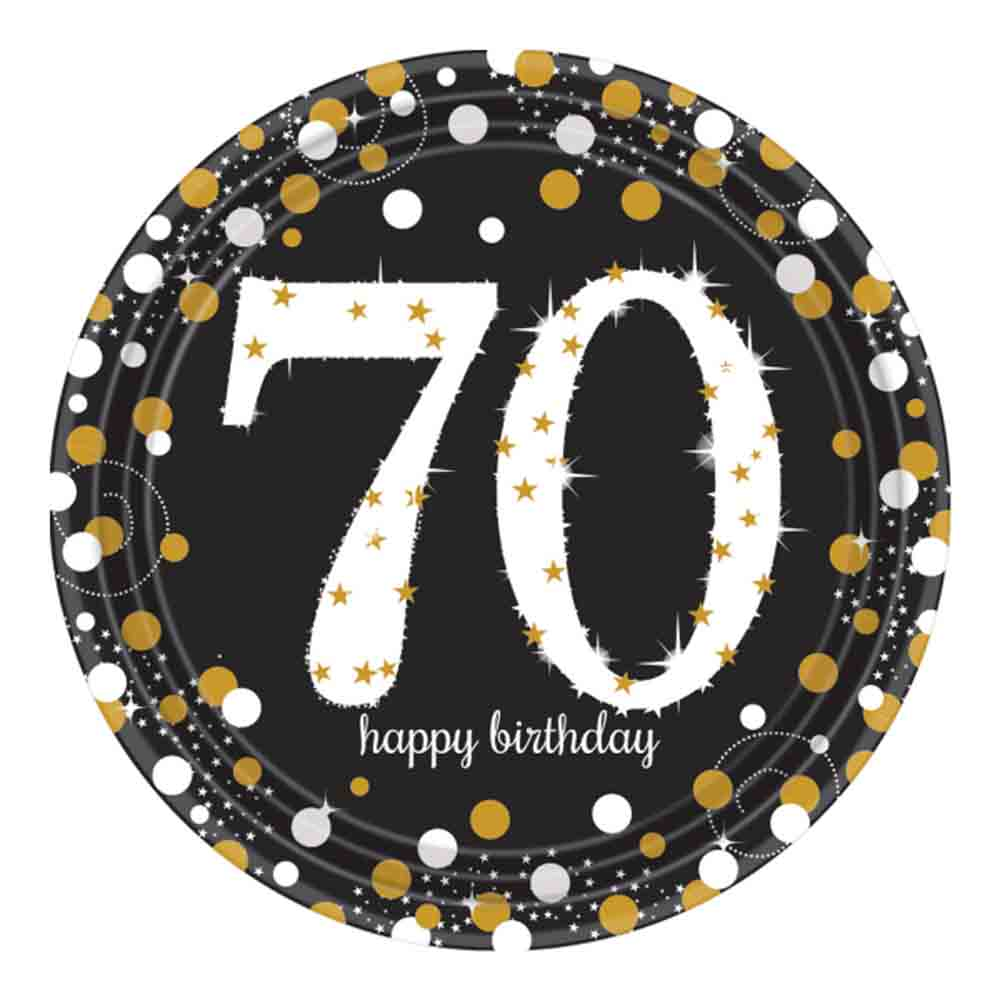 8 Gold Celebration Age 70 Paper Plates Gold Black 70th Birthday Party  Tableware