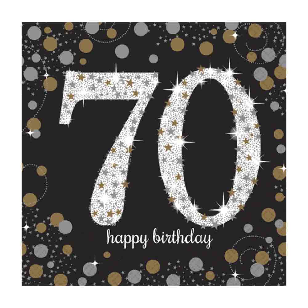 16 x black age 70 napkins black gold silver 70th birthday tableware