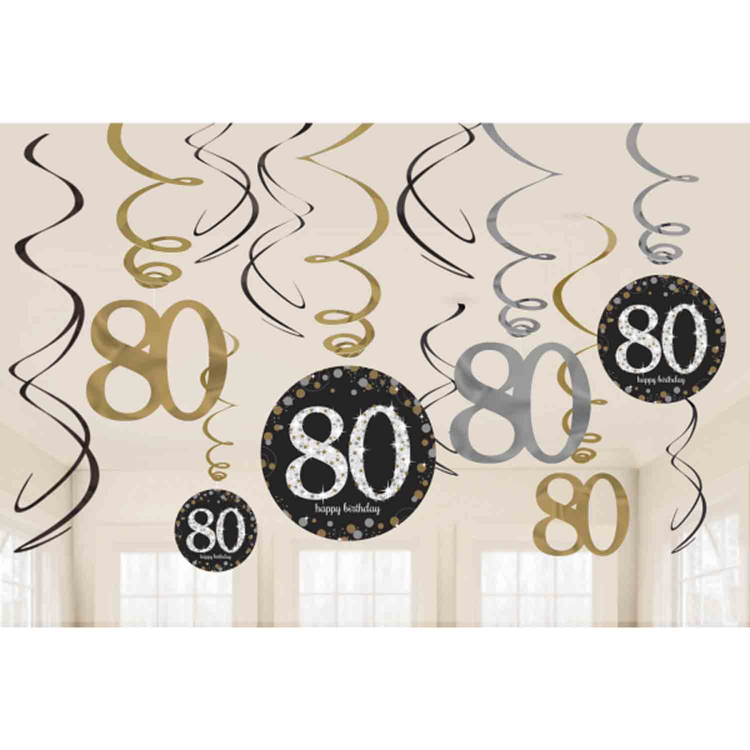 12 x 80th Birthday Hanging Swirls Black Silver Gold Party Decorations Age 80 : eBay