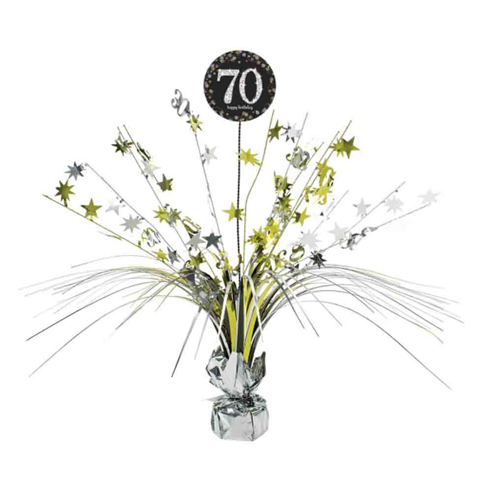 70th Birthday Spray Centrepiece Table Decoration Black Silver Gold Age 70 Party