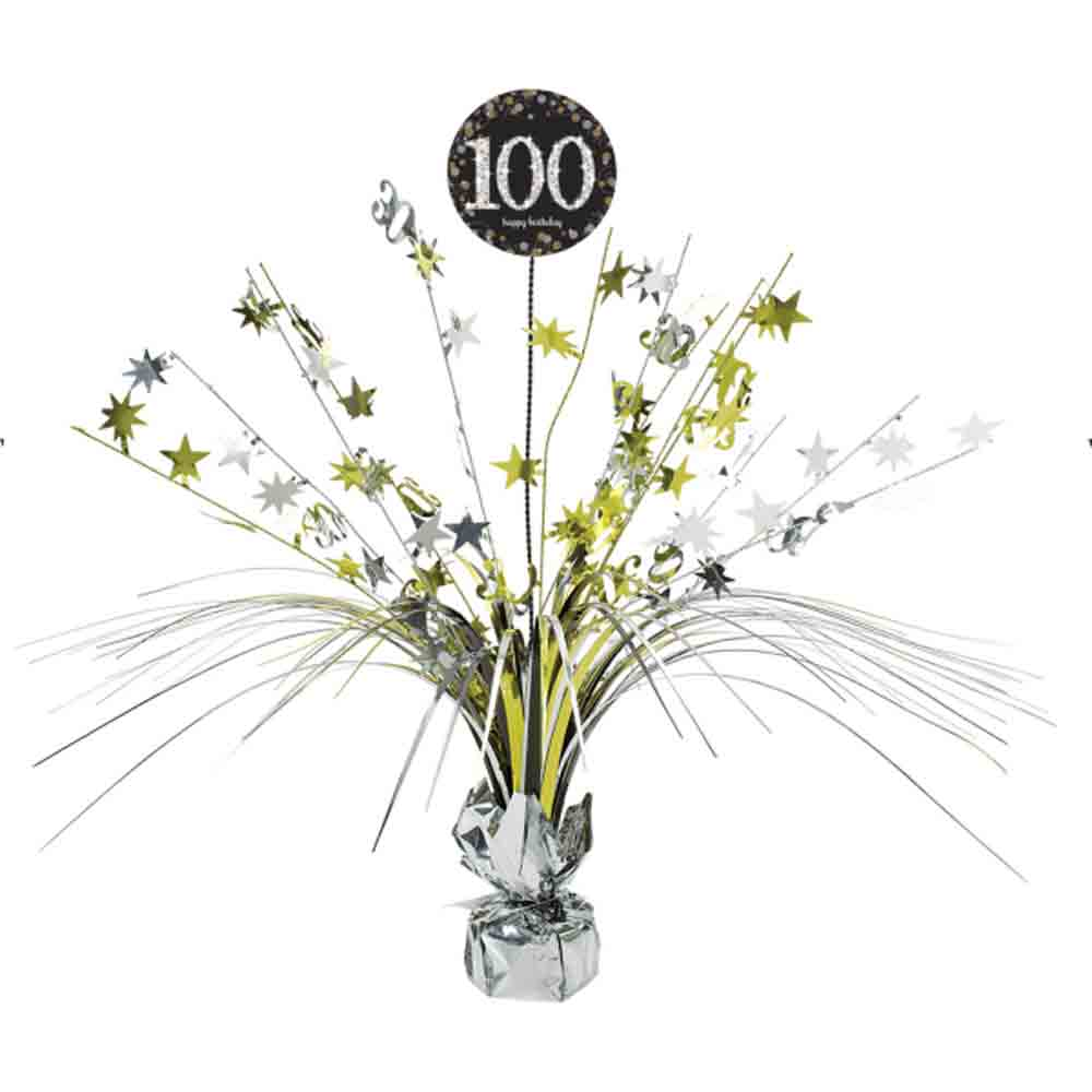 100th Birthday Spray Centrepiece Table Decoration Black Gold Age 100 Party