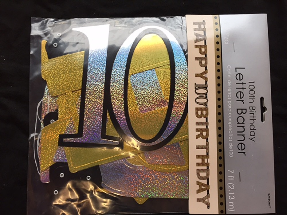 100th Birthday Pennant Flag Banner Black Silver Gold Party Decorations Age 100