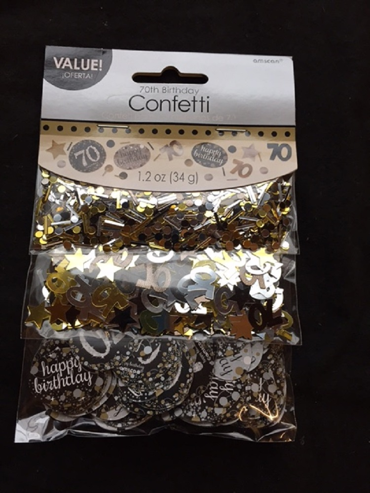 70th Birthday Confetti Table Decoration Sprinkle Black Silver Gold Age 70 Party