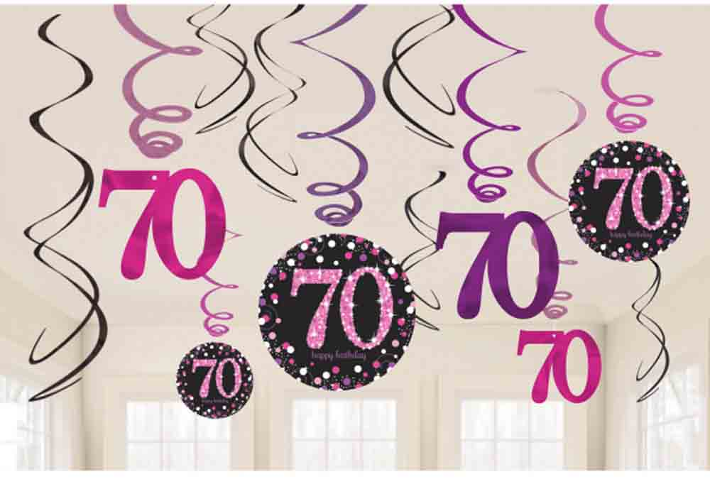 12 X 70th Birthday Hanging Swirls Black Pinks Party Decorations Age 70