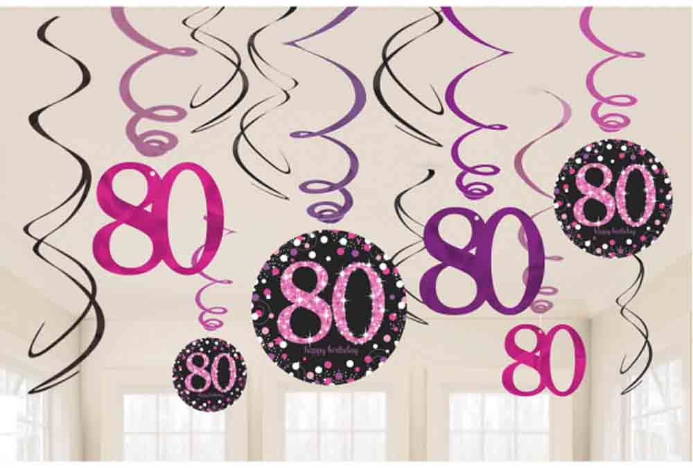 12 x 80th Birthday Hanging Swirls Black /& Pinks Party Decorations Age 80 Party