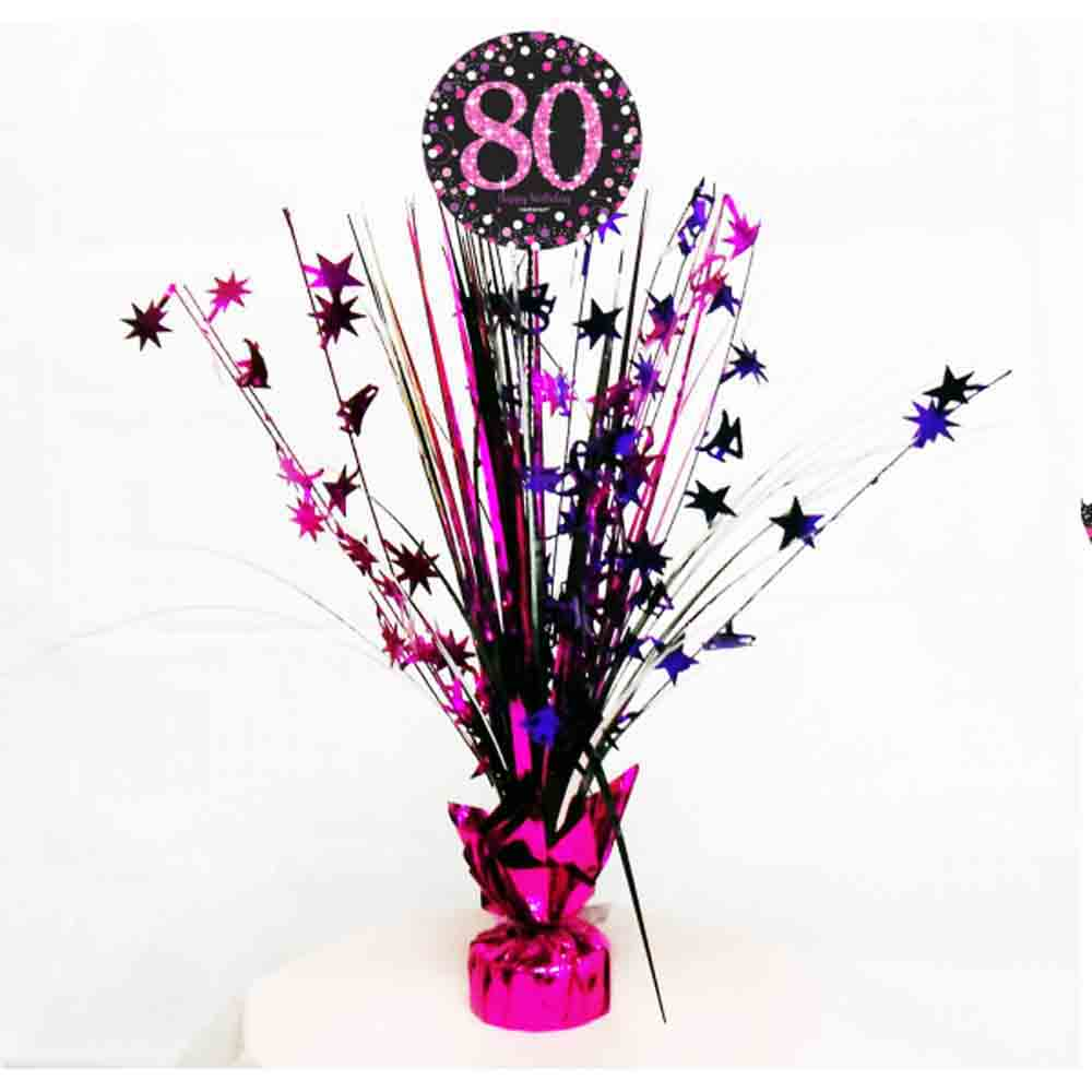 80th Birthday Spray Centrepiece Table Decoration Black Pink Purple Age 80 Party