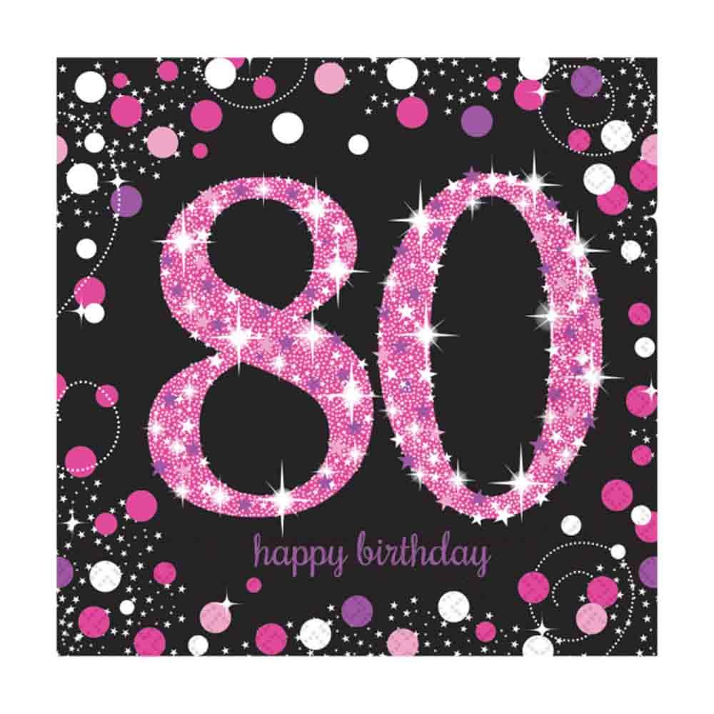 16 x Pink Celebration Age 80 Napkins Pink & Black 80th ...