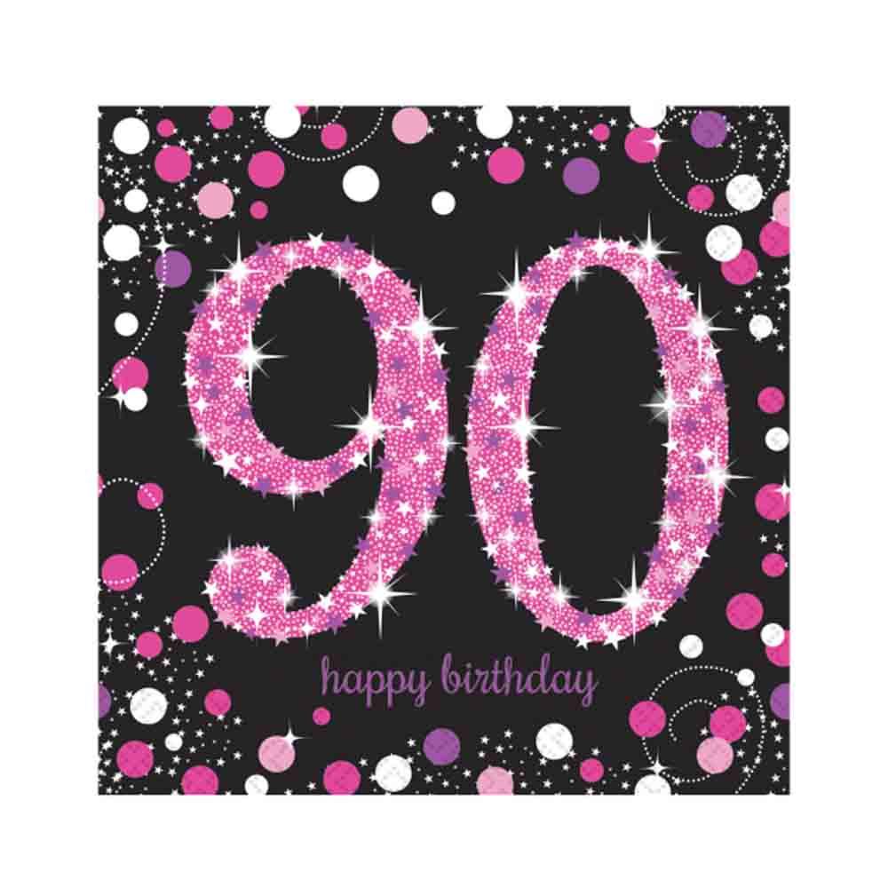 16 X Pink Celebration Age 90 Napkins Black 90th Birthday FREE PP
