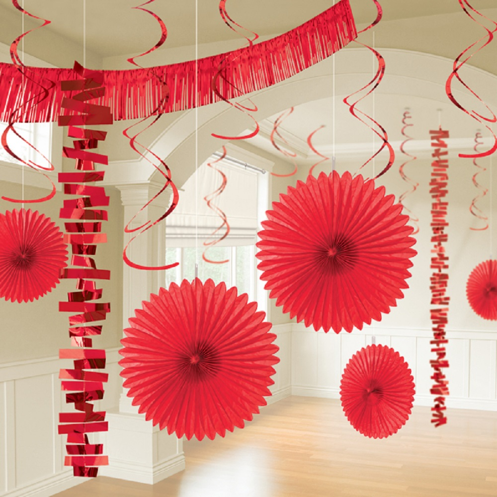 Details About 18 X Red Hanging Paper Party Decorations Valentines Party Room Decorating Kit
