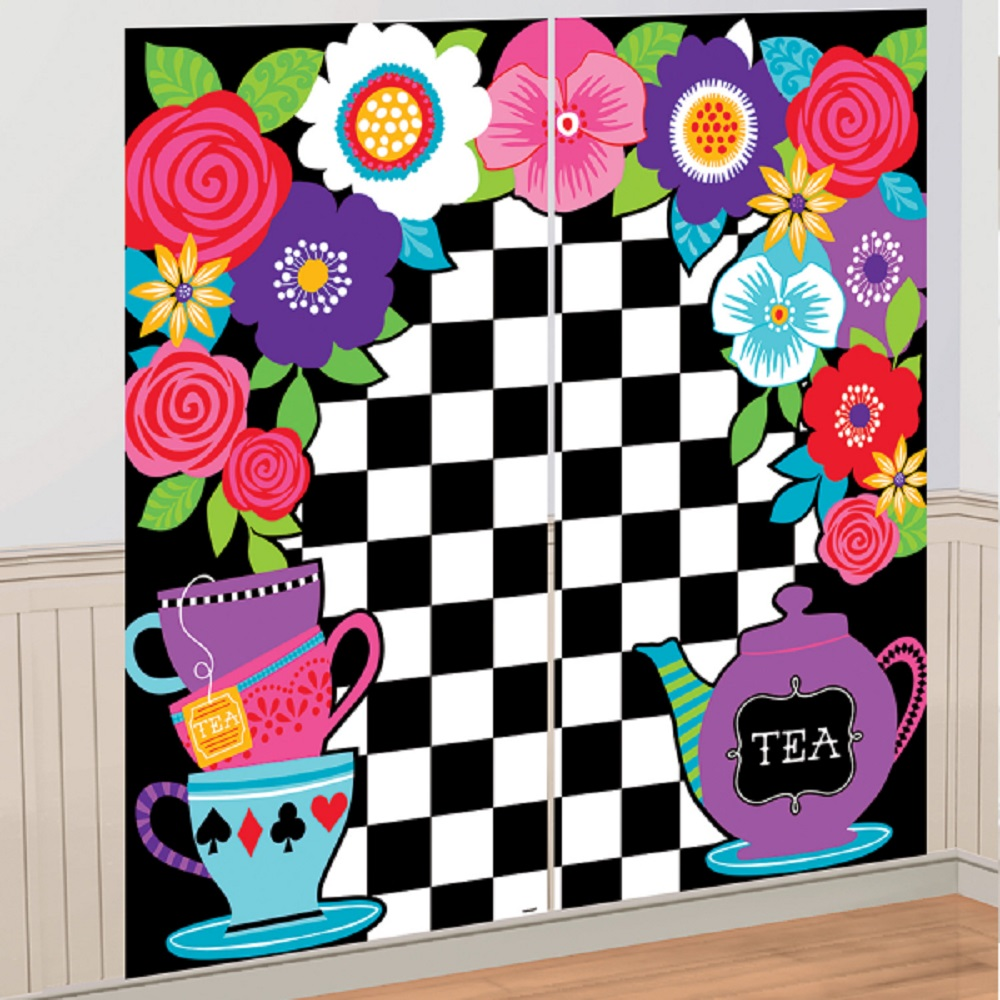 Alice in wonderland party wall decoration scene setter for Decoration stuff