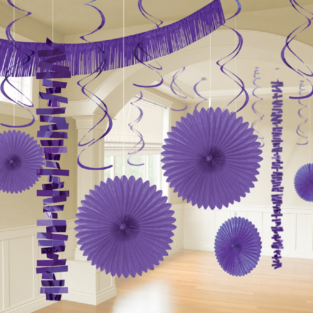 18 Black Hanging Paper /& Foil Party Decoration Lavender Lilac Wedding Party