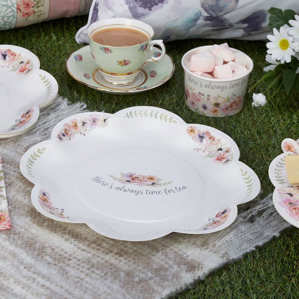 8 x Vintage Style Tea Party Paper Plates Shabby Chic Flower Buffet ...