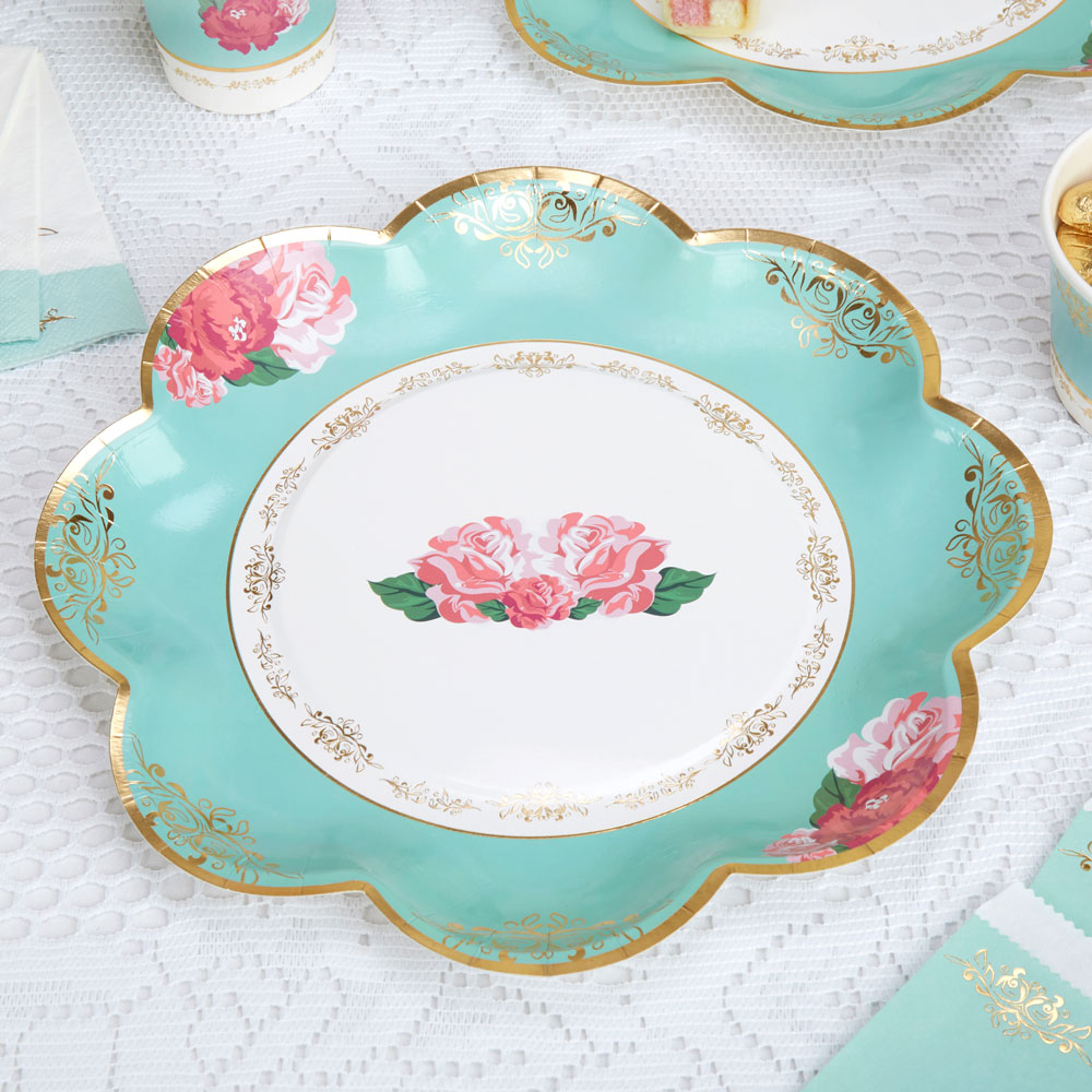 8 x Vintage Style Tea Party Paper Plates Shabby Chic Rose Buffet Wedding Plate  sc 1 st  eBay & 8 x Vintage Style Tea Party Paper Plates Shabby Chic Rose Buffet ...