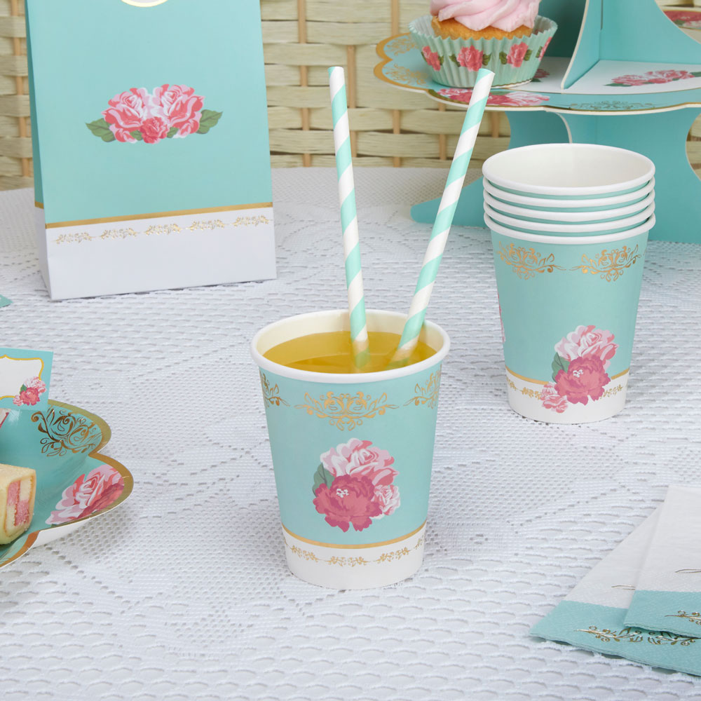 8 x Vintage Style Tea Party Paper Cups Shabby Chic Rose Buffet ...