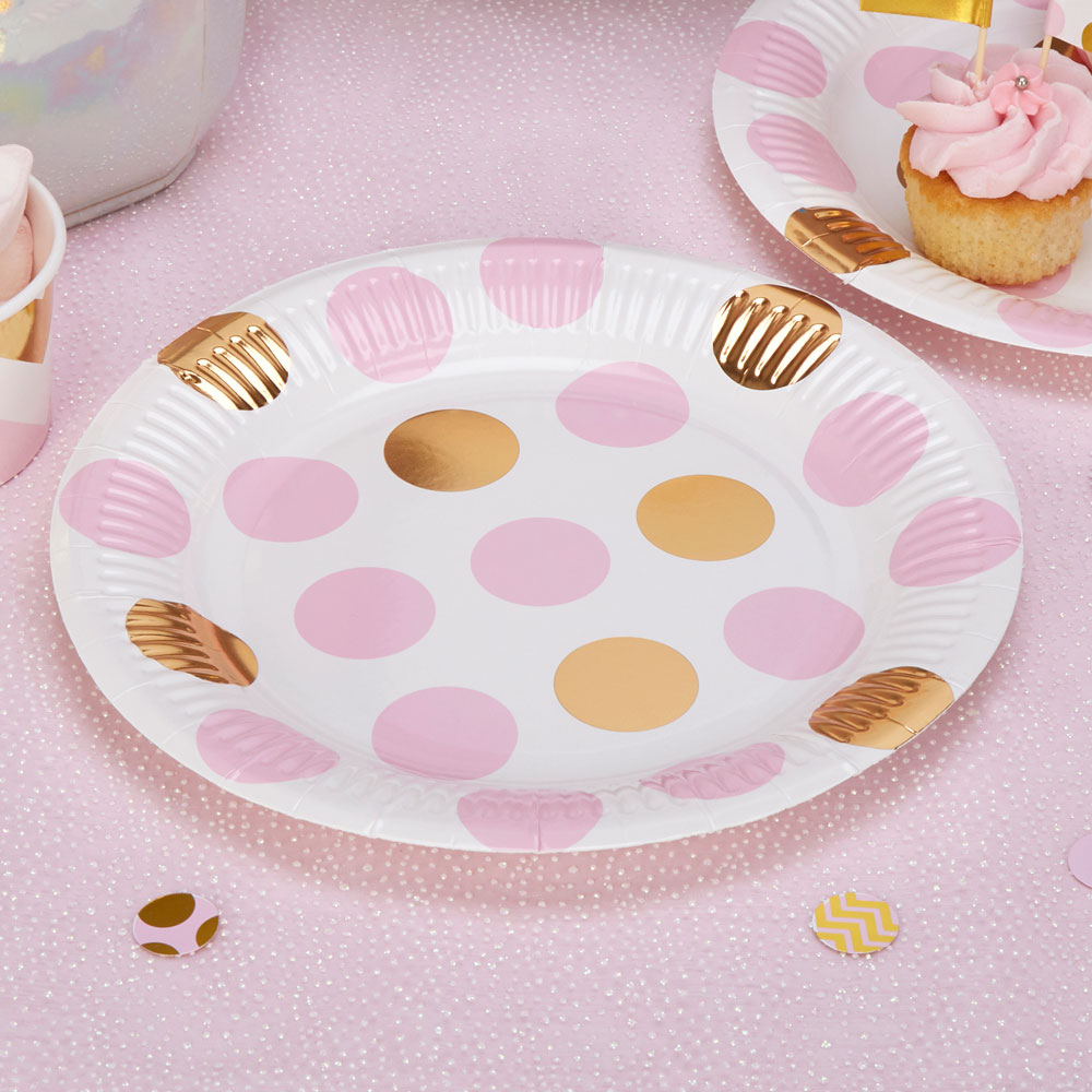 8 x Pink u0026 Gold Polka Dot Paper Plates Baby Shower Tea Party Hen Party Wedding  sc 1 st  eBay : spotty paper plates - pezcame.com