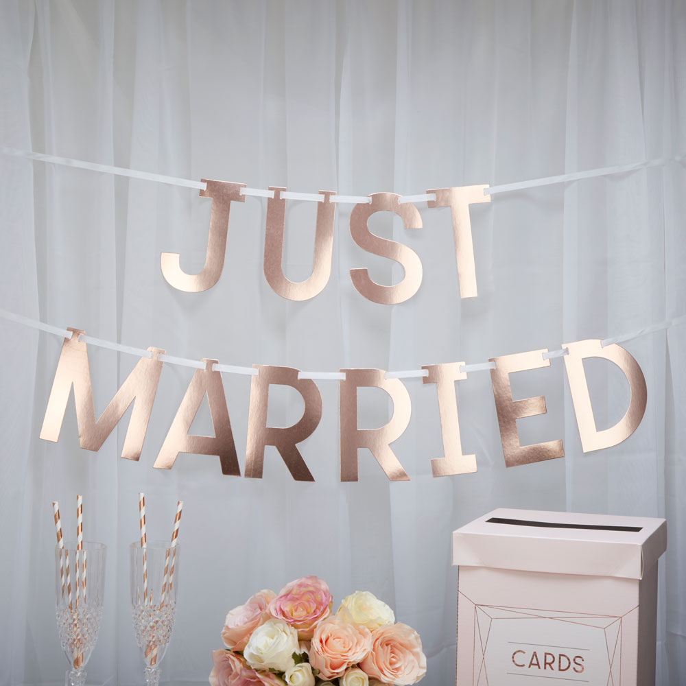 Just Married Bunting Letter Banner Wedding Bunting Rose Gold Wedding ...