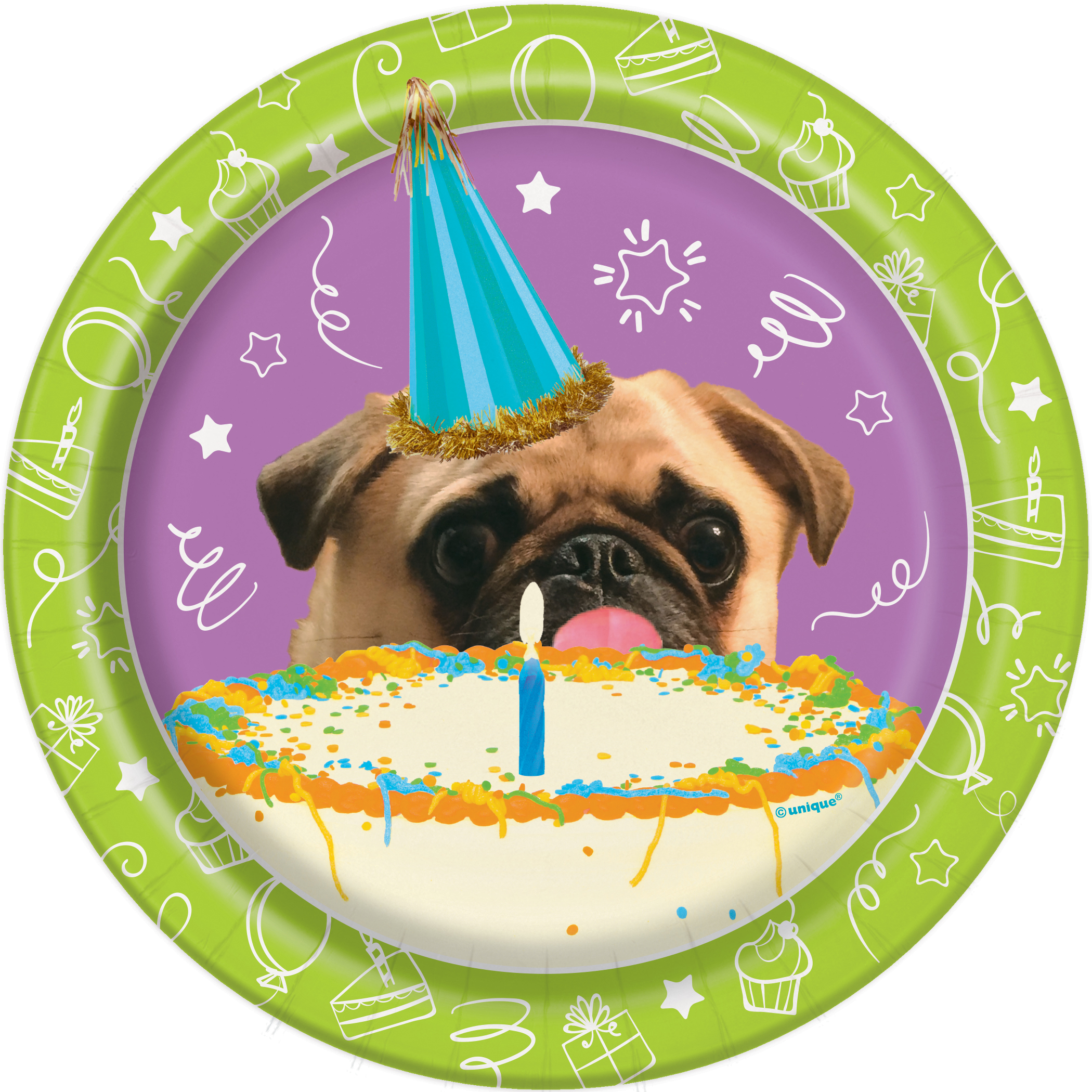 8 Pug Puppy Dog Party Paper Plates Birthday Lover Cake Buffet Size