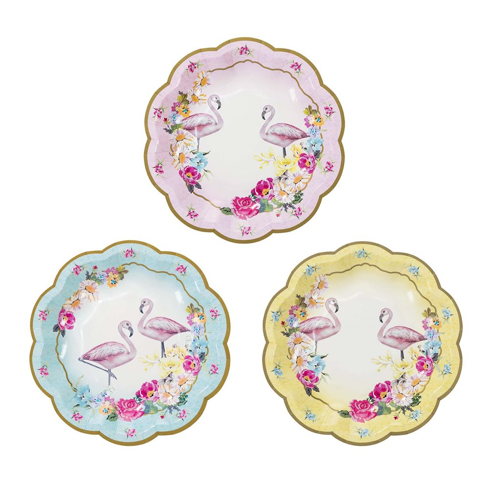 12 x Flamingo Paper Plates Vintage Style Tropical Hawaiian Party Theme 18cm  sc 1 st  eBay : hawaiian paper plates - pezcame.com