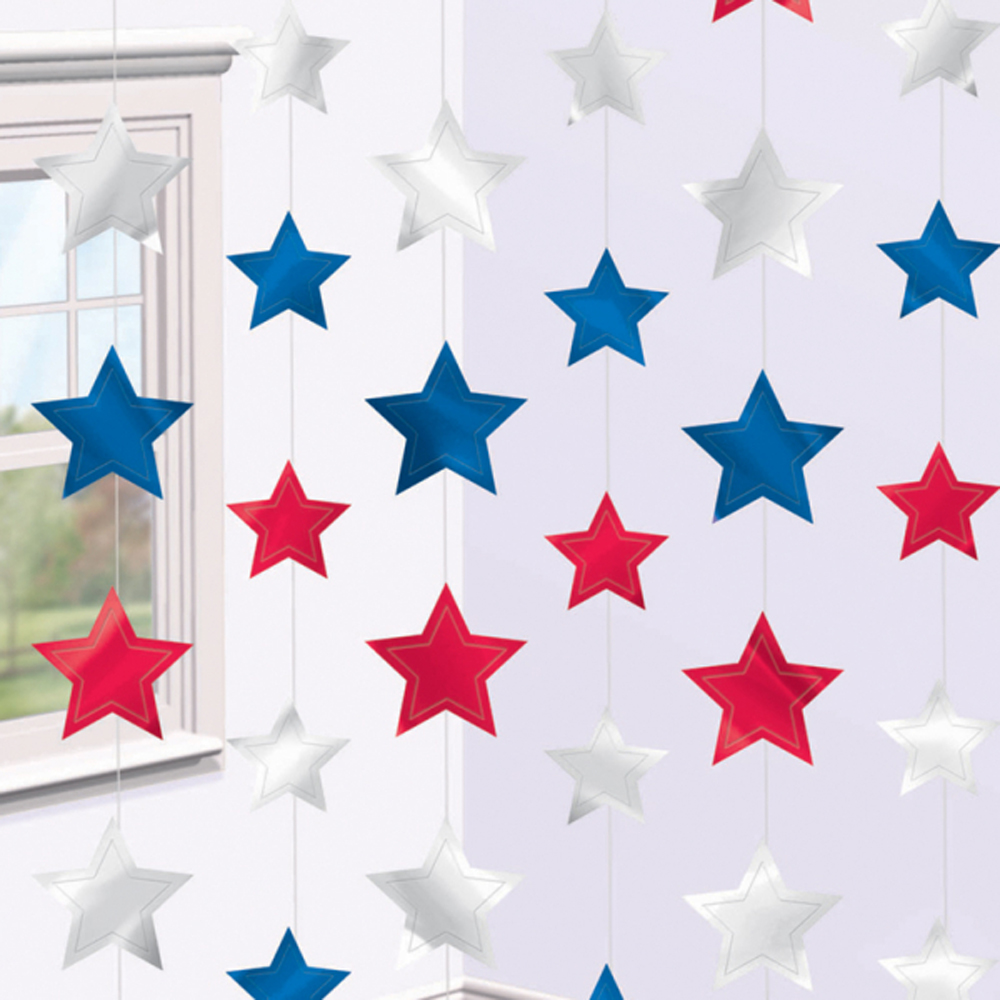 6 Red Blue Silver Hanging Star String Decorations 4th July USA Party ...