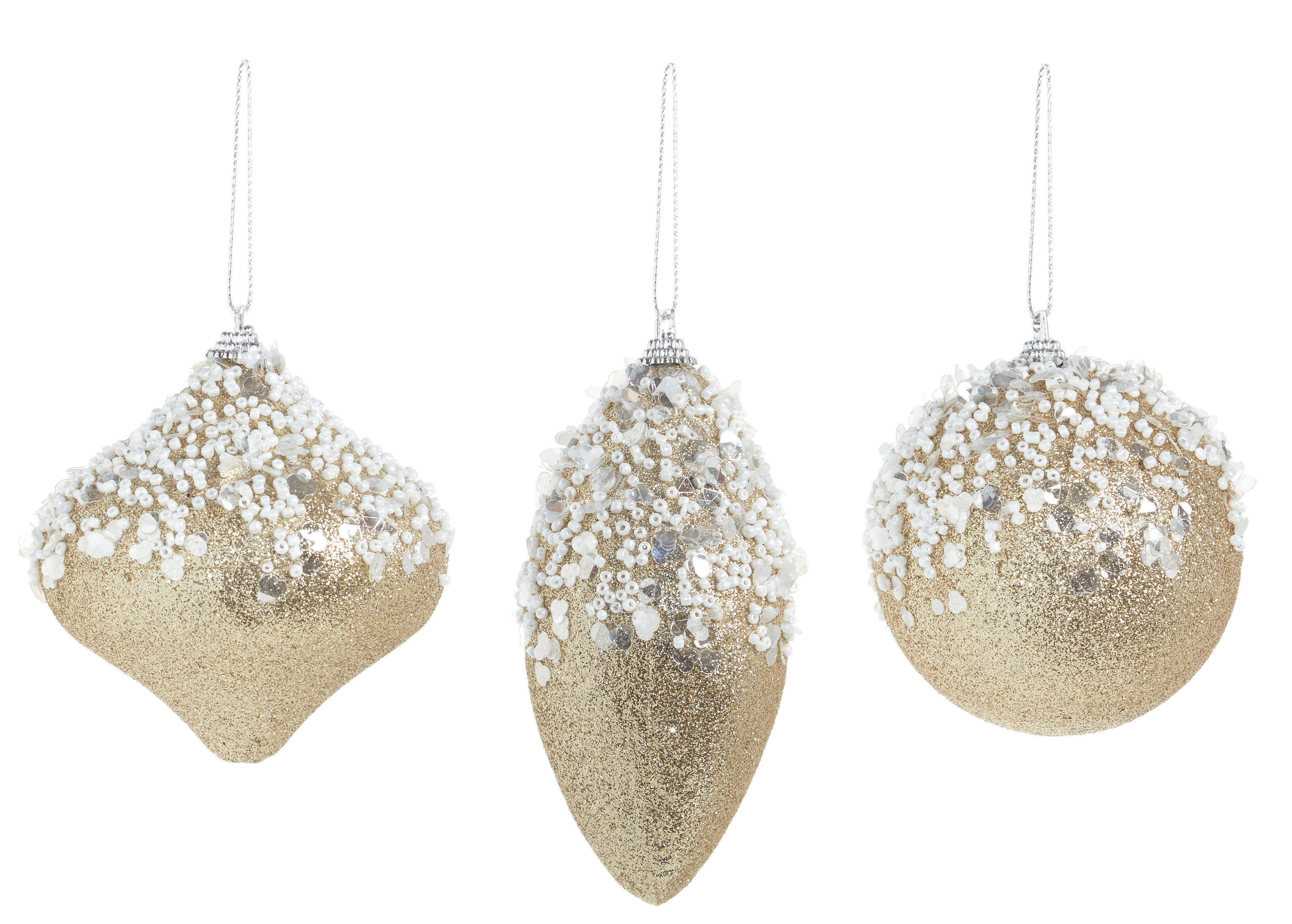 3 X Gold Vintage Style Christmas Tree Baubles Decorations
