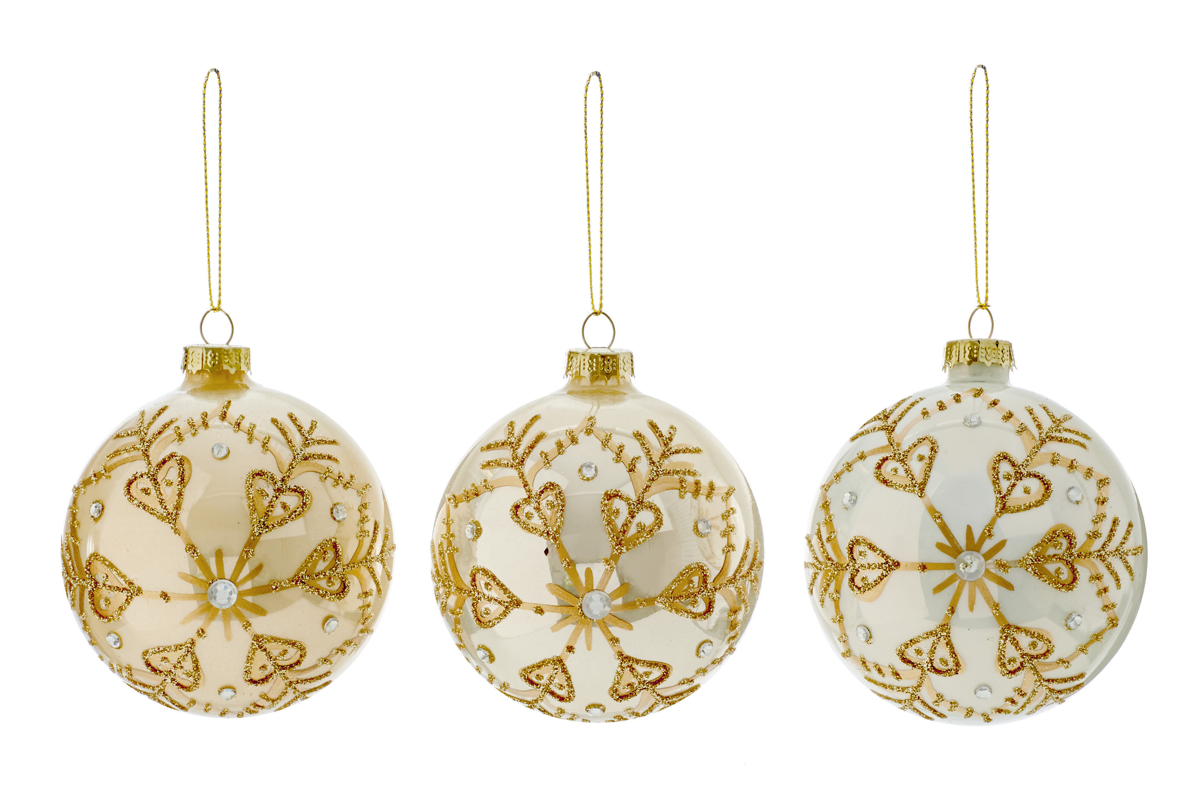 12 X Ivory Pearlised GLASS Christmas Tree Baubles With