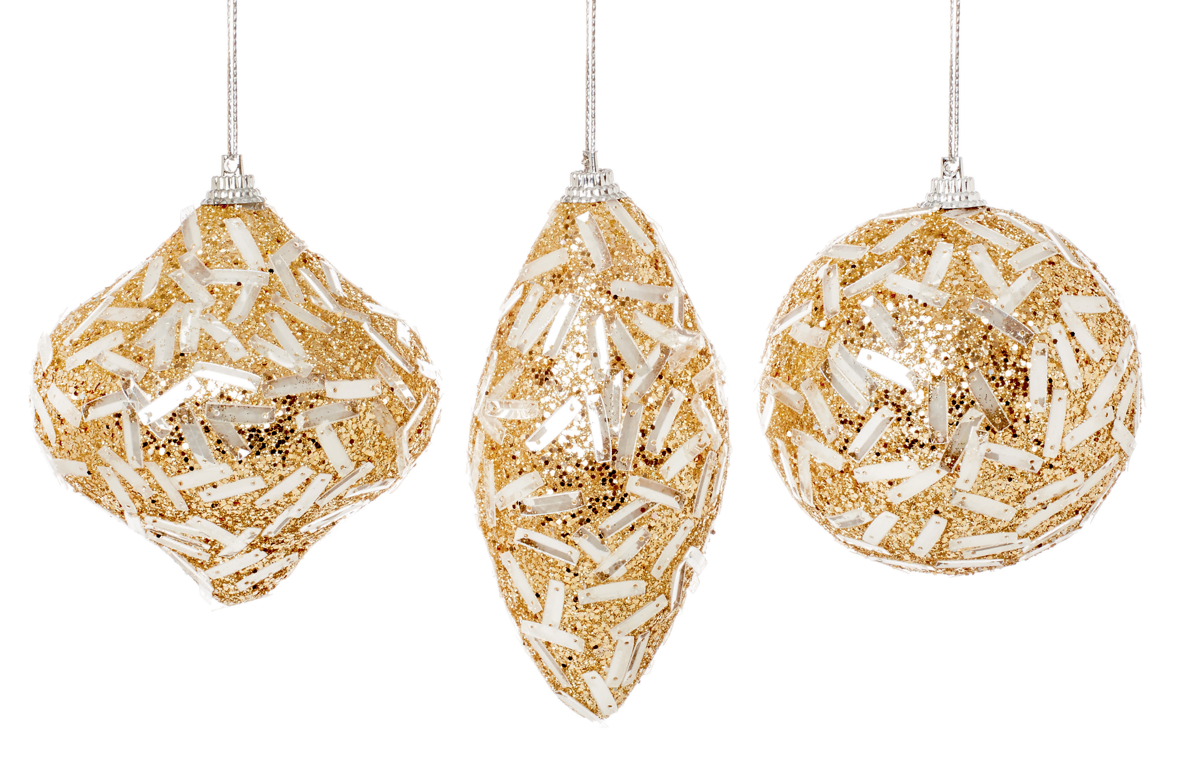 3 X Beautiful Gold Christmas Tree Baubles With Flower