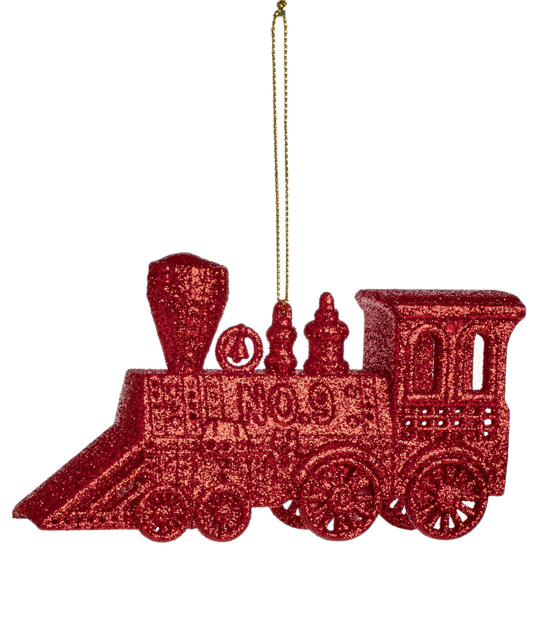 3 X Weihnachtsbaum Rot Zug Ornament Dekorationen Kugeln 12cm Glitzer ...