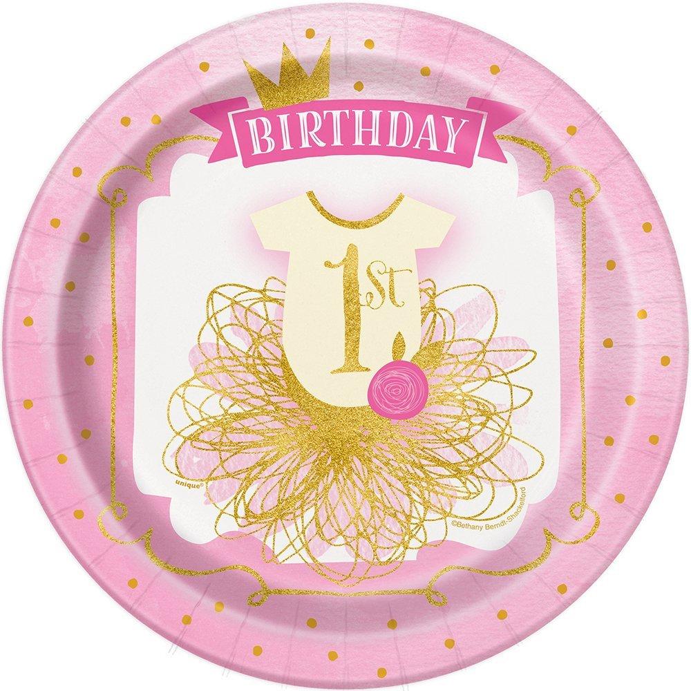 8 X 1st Cumpleaños Rosa Y Oro Papel Fiesta Placas Niñas Vajilla De Fiesta 1 años