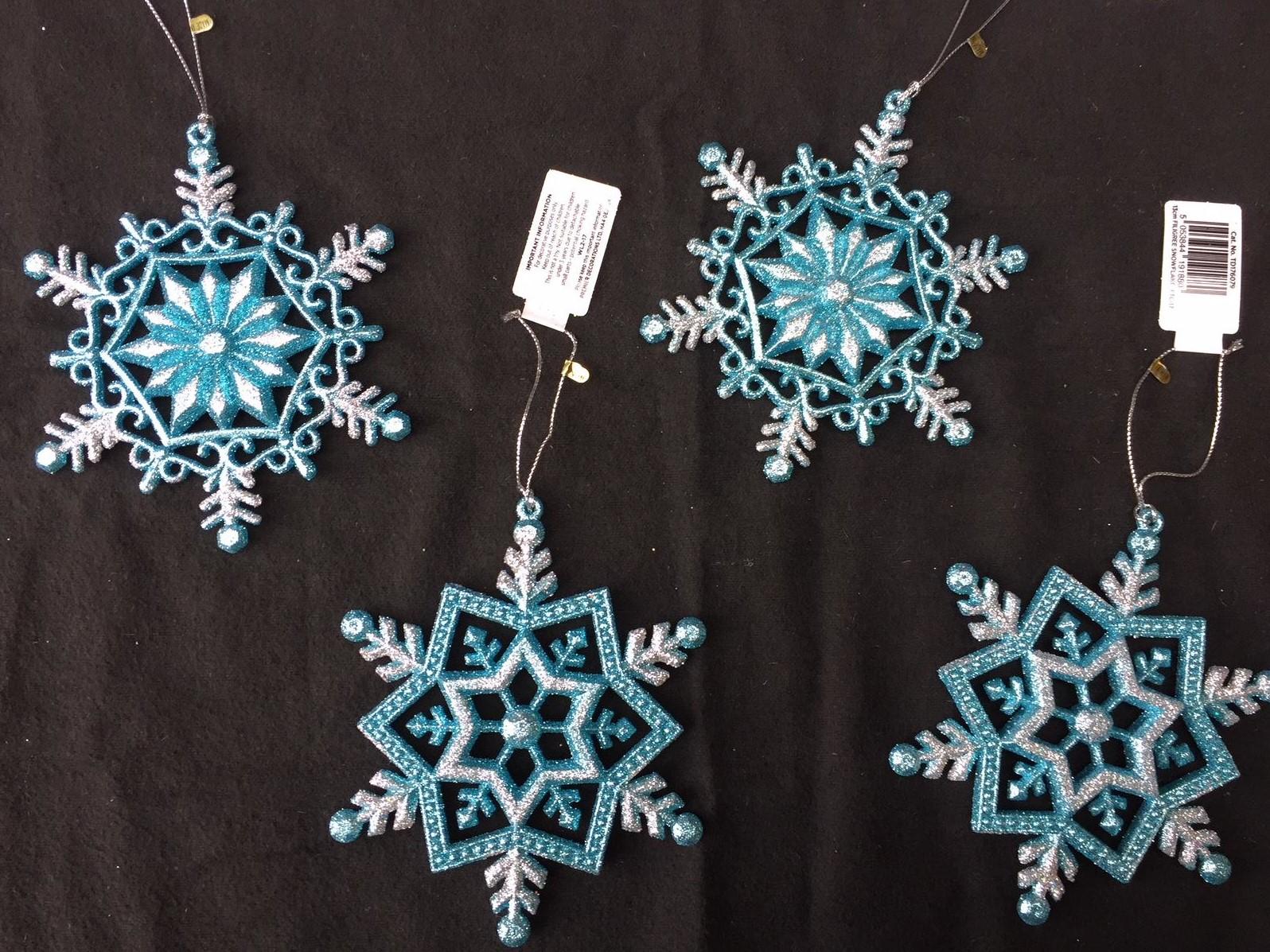 Fiocchi Di Neve Di Carta Fai Da Te : Turchese blu e argento fiocchi di neve palline di natale