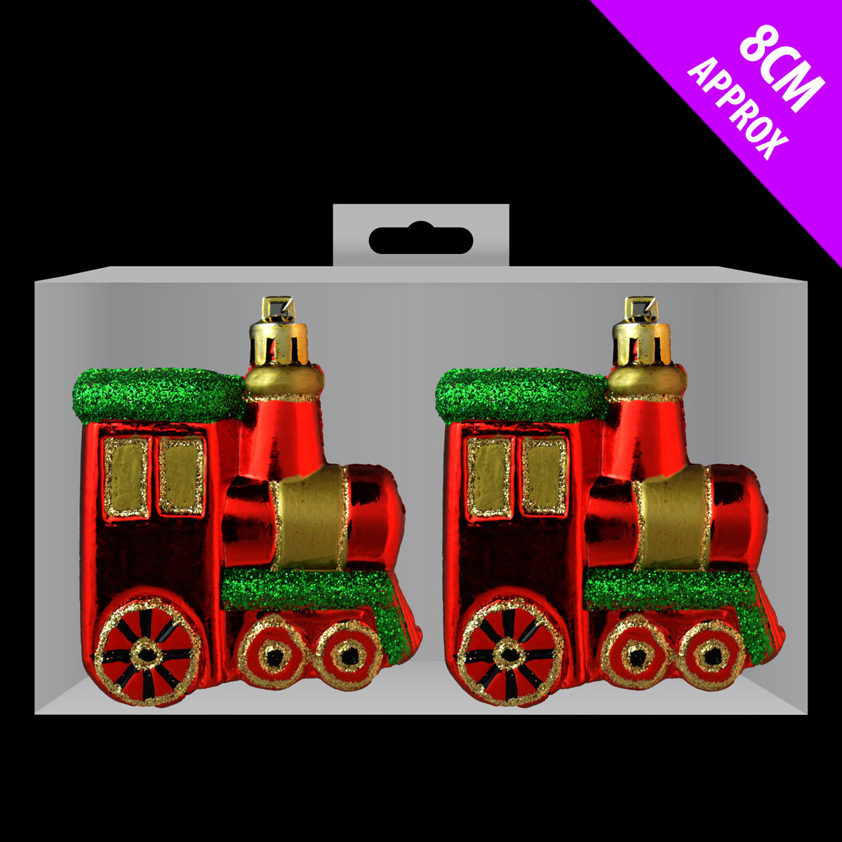6 X CHEAP Glitter Train Baubles Christmas Tree Decorations