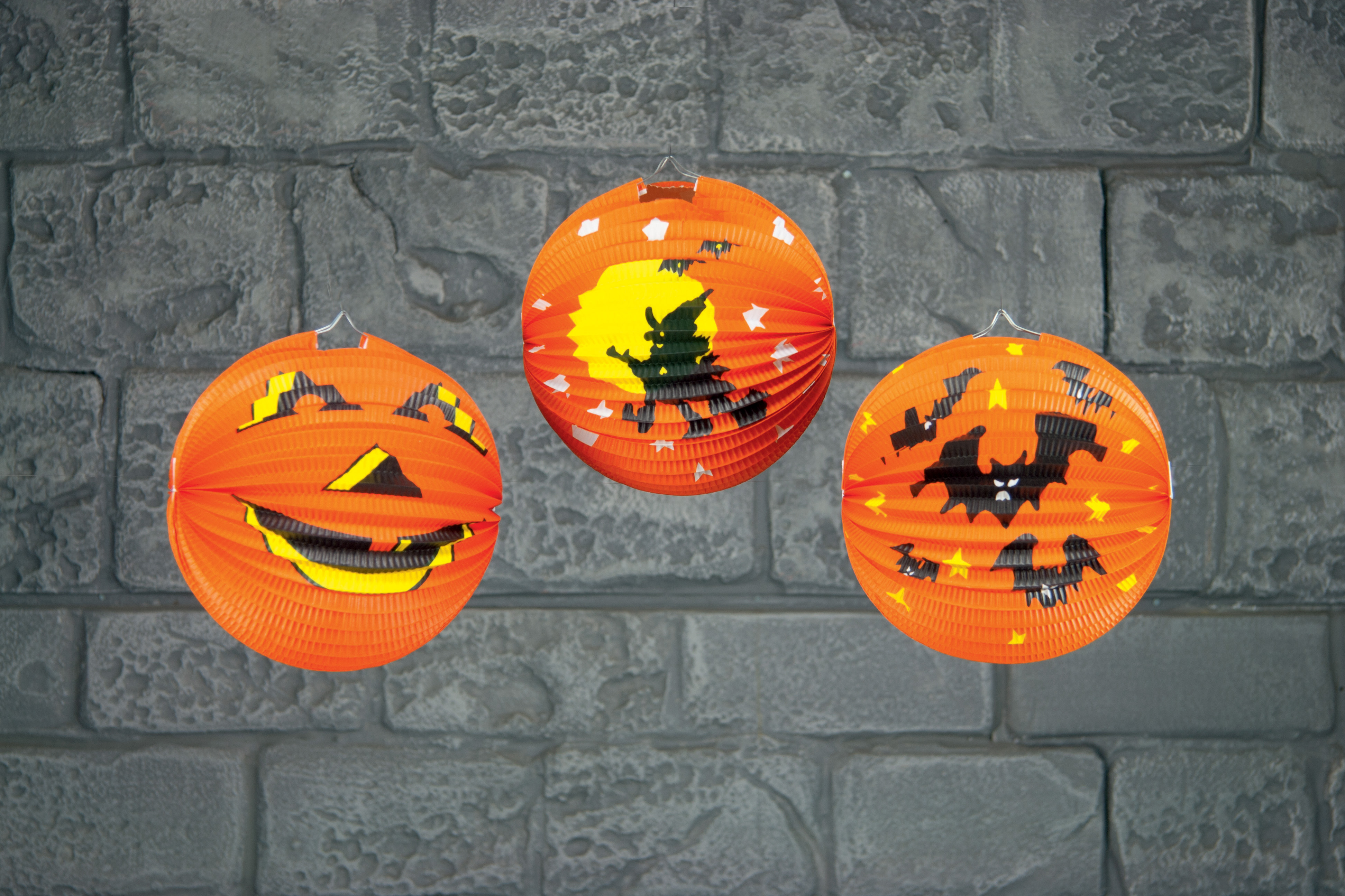 Cheap Halloween Paper Pumpkin Lantern Hanging Party Decoration 25cm