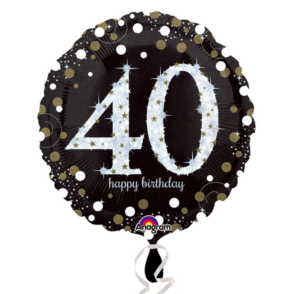 40th Happy Birthday Foil Balloon Black Silver Gold Party Decorations
