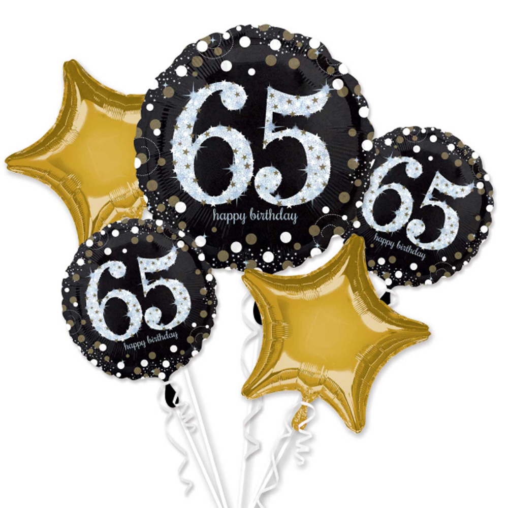 65th Happy Birthday Foil Balloon Bouquet Black Silver Gold Age 65 Decorations