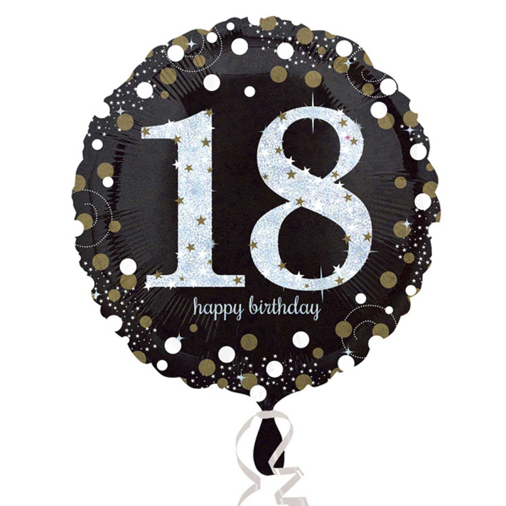 18th Happy Birthday Foil Balloon Black Silver Gold Party Decorations Age 18
