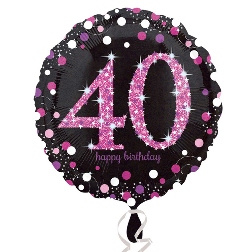 40th Happy Birthday Foil Balloon Bouquet Black Silver Gold Age 40 Decorations