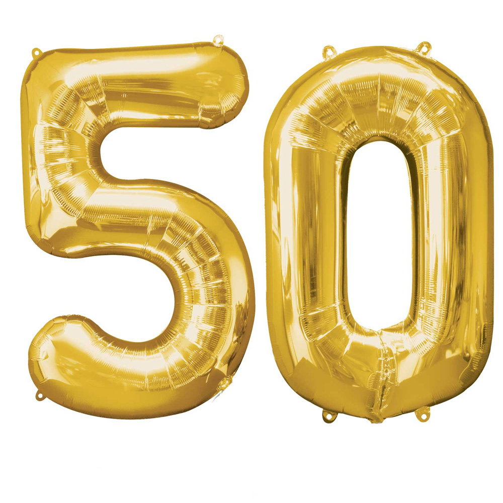 Extra Large Gold 50th Birthday Foil Balloon Party Decorations Age 50 Numbers