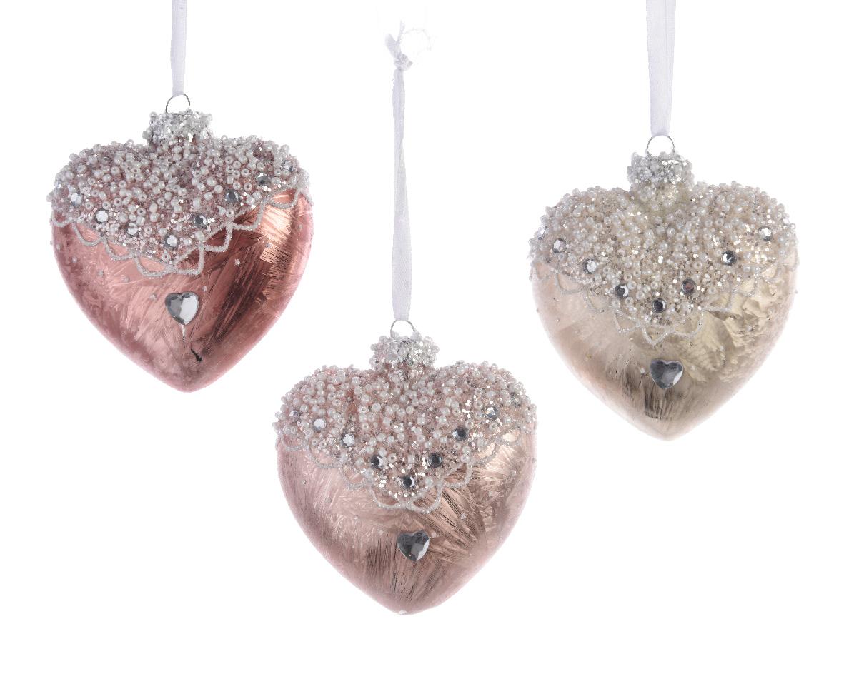 12 X Pale Pink Ivory Glass Heart Shape Christmas Tree