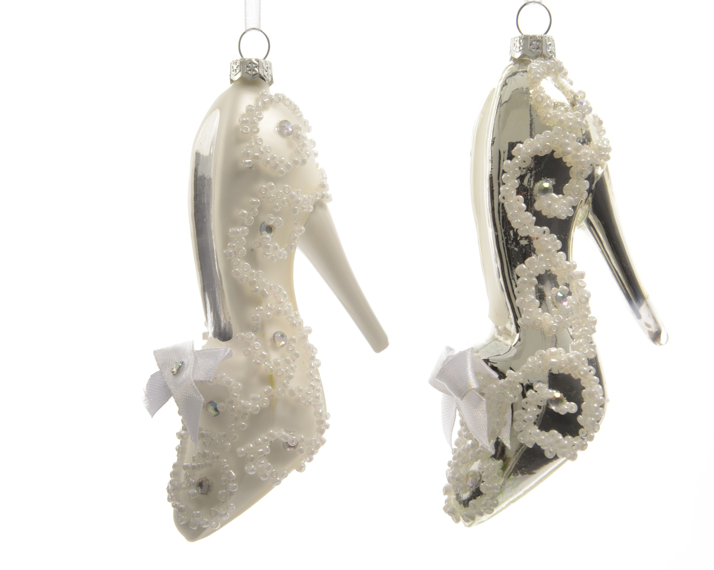 6 GLASS High Heel Shoe Christmas Tree Baubles Hanging