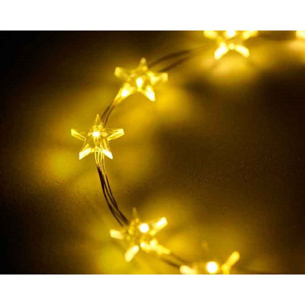 40 X Warm White Micro Star Christmas Tree Lights 195cm Silver Wire Battery Timer