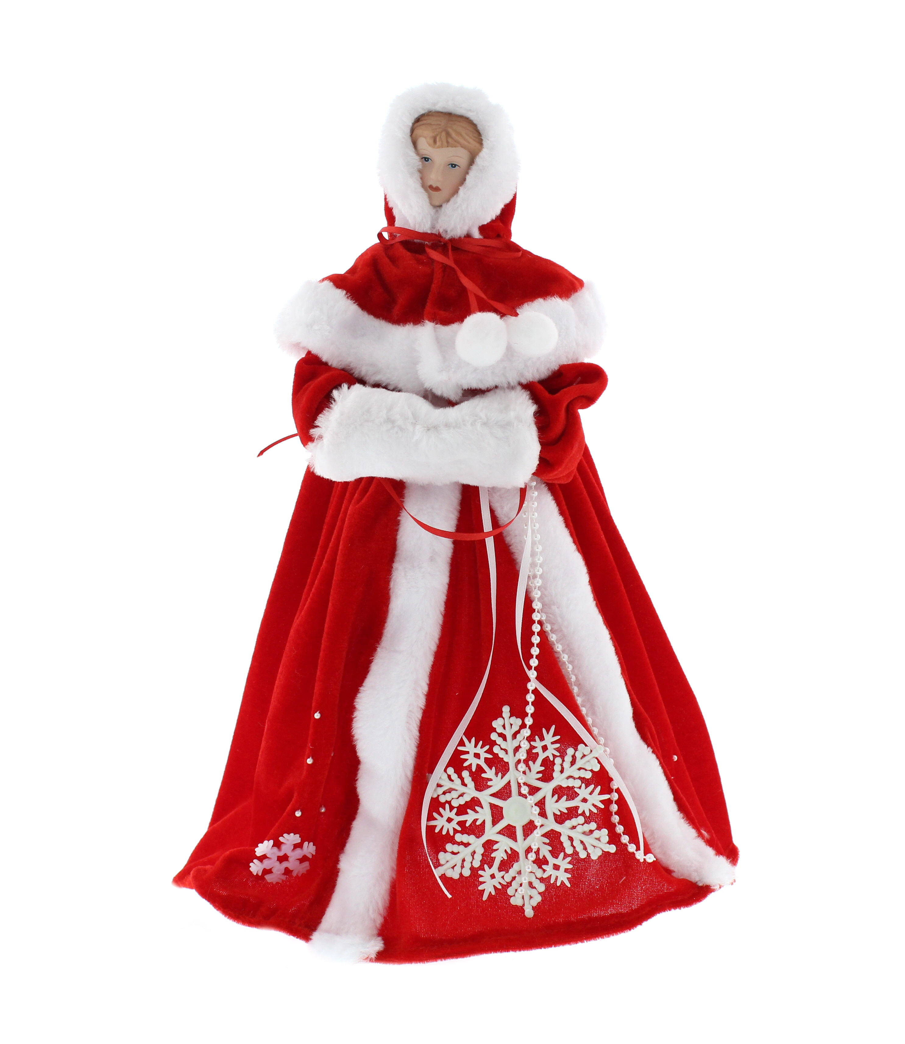 Large Red Traditional Style Angel Fairy Christmas Tree Top