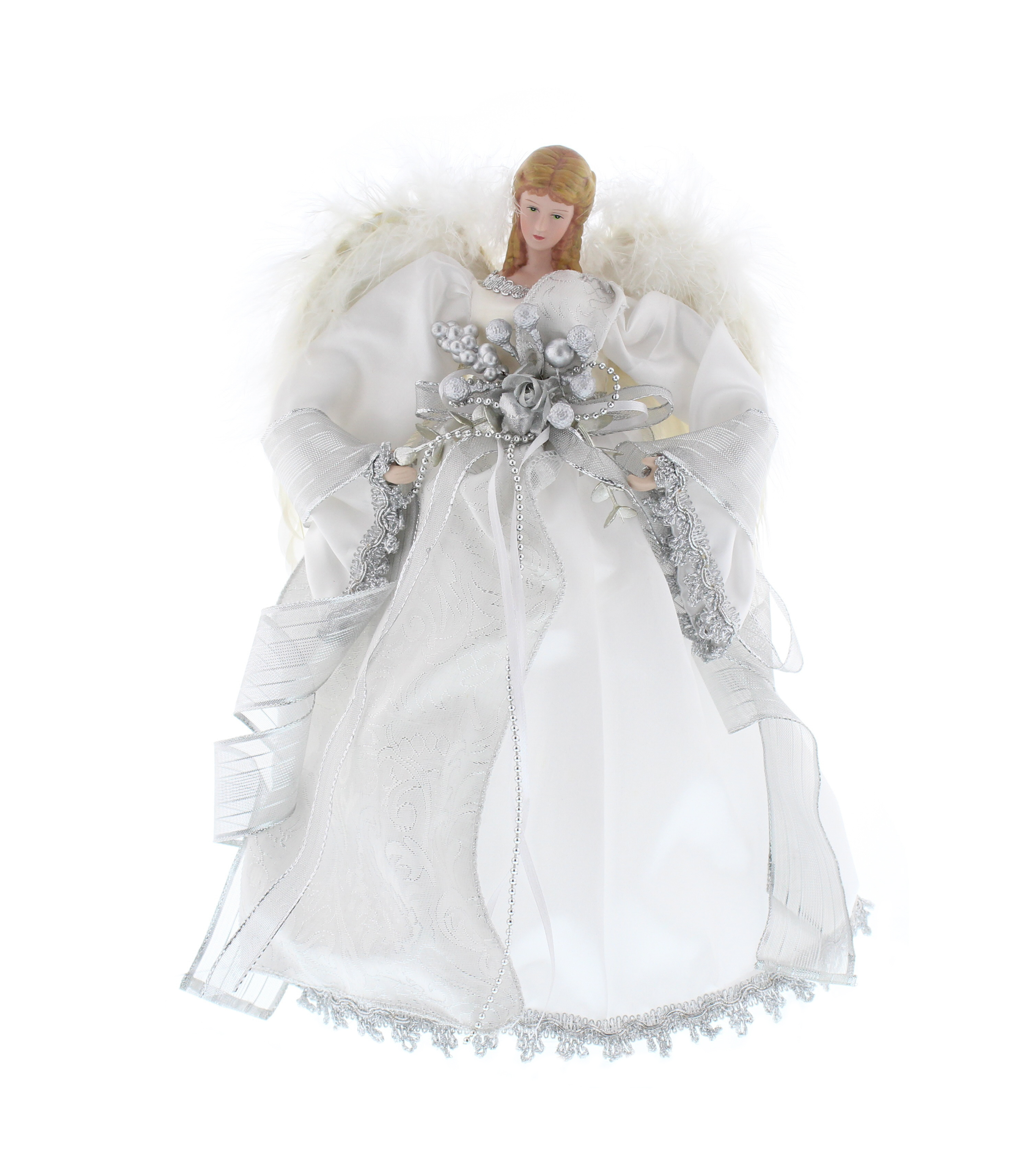 White Silver Angel Fairy Christmas Tree Topper Decoration Vintage ...