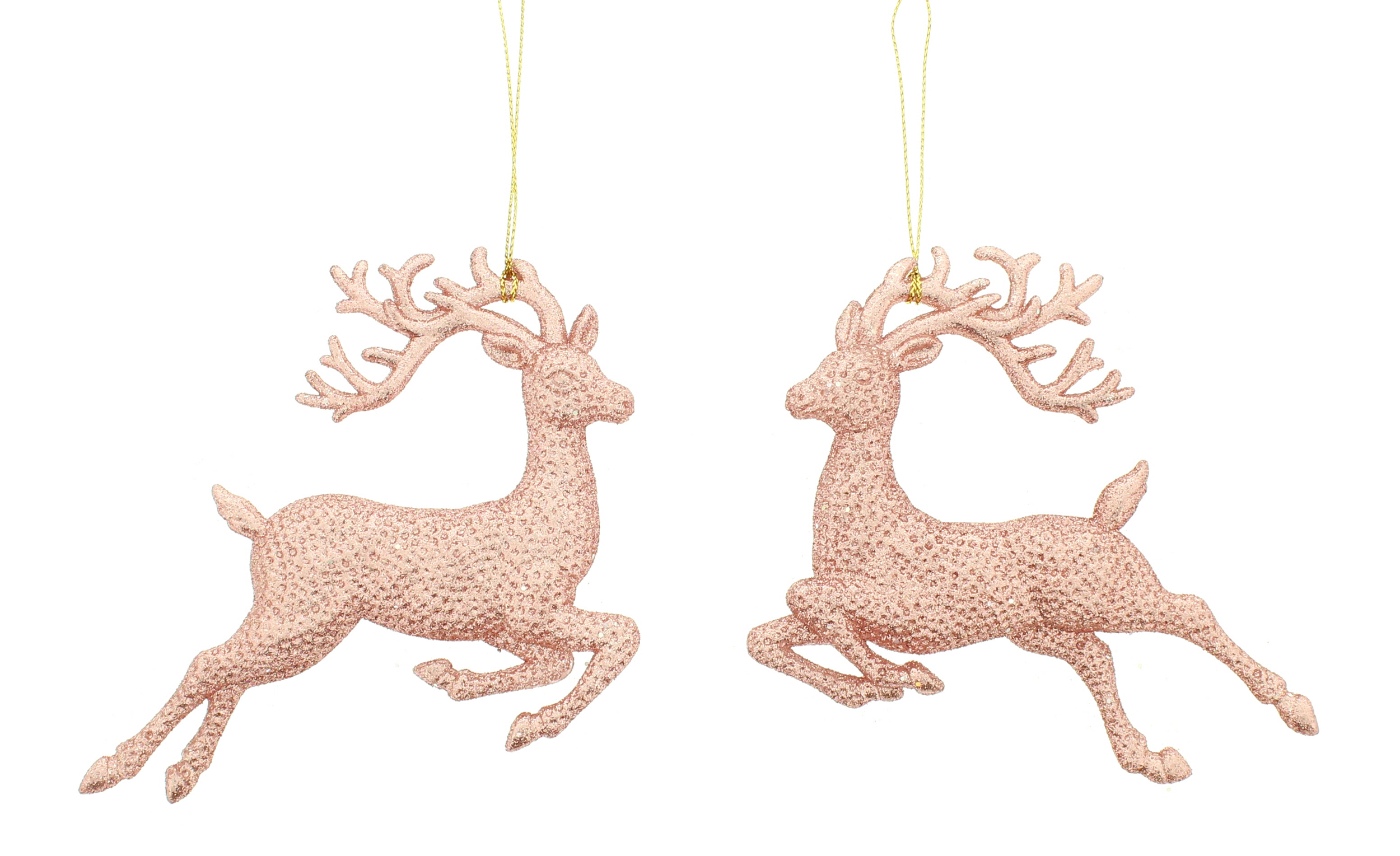 2 x light copper reindeer christmas tree hanging decorations glitter finish 13cm - Christmas Hanging Decorations
