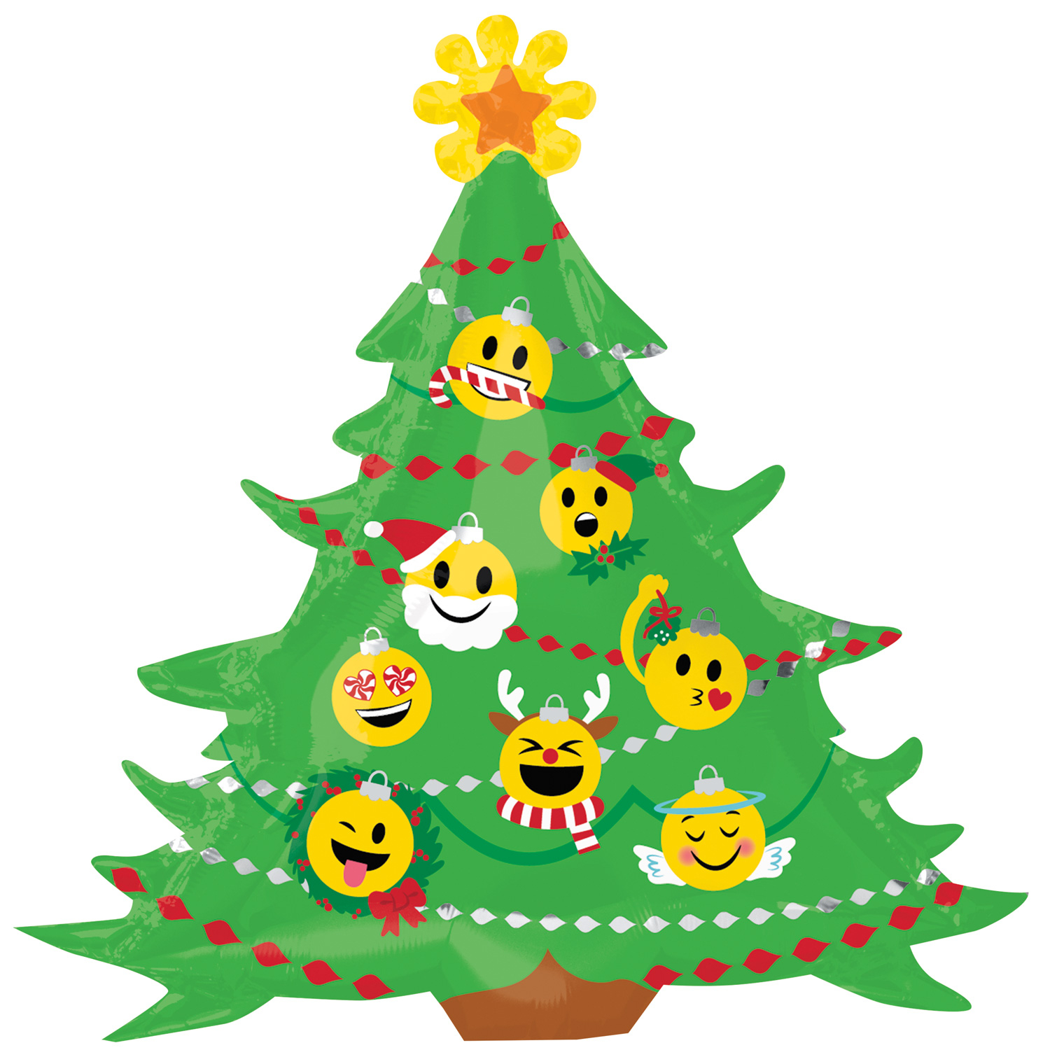 Details About Emoticon Emoji Christmas Tree Extra Large Supershape Balloon Party Decoration