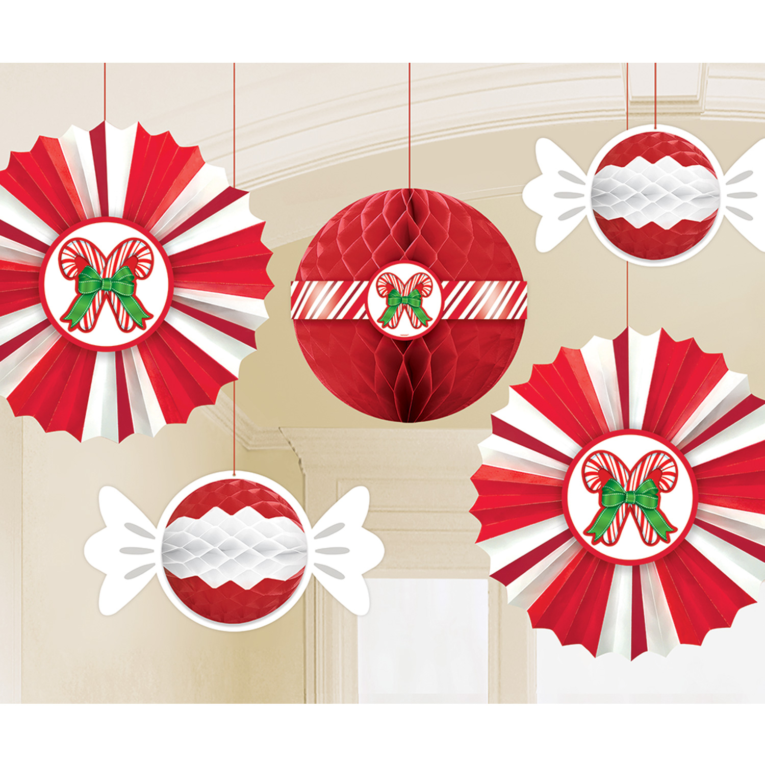 Christmas Candy Decorations.Details About 5 X Christmas Candy Cane Stripe Honeycomb 3d Hanging Party Decorations Fans