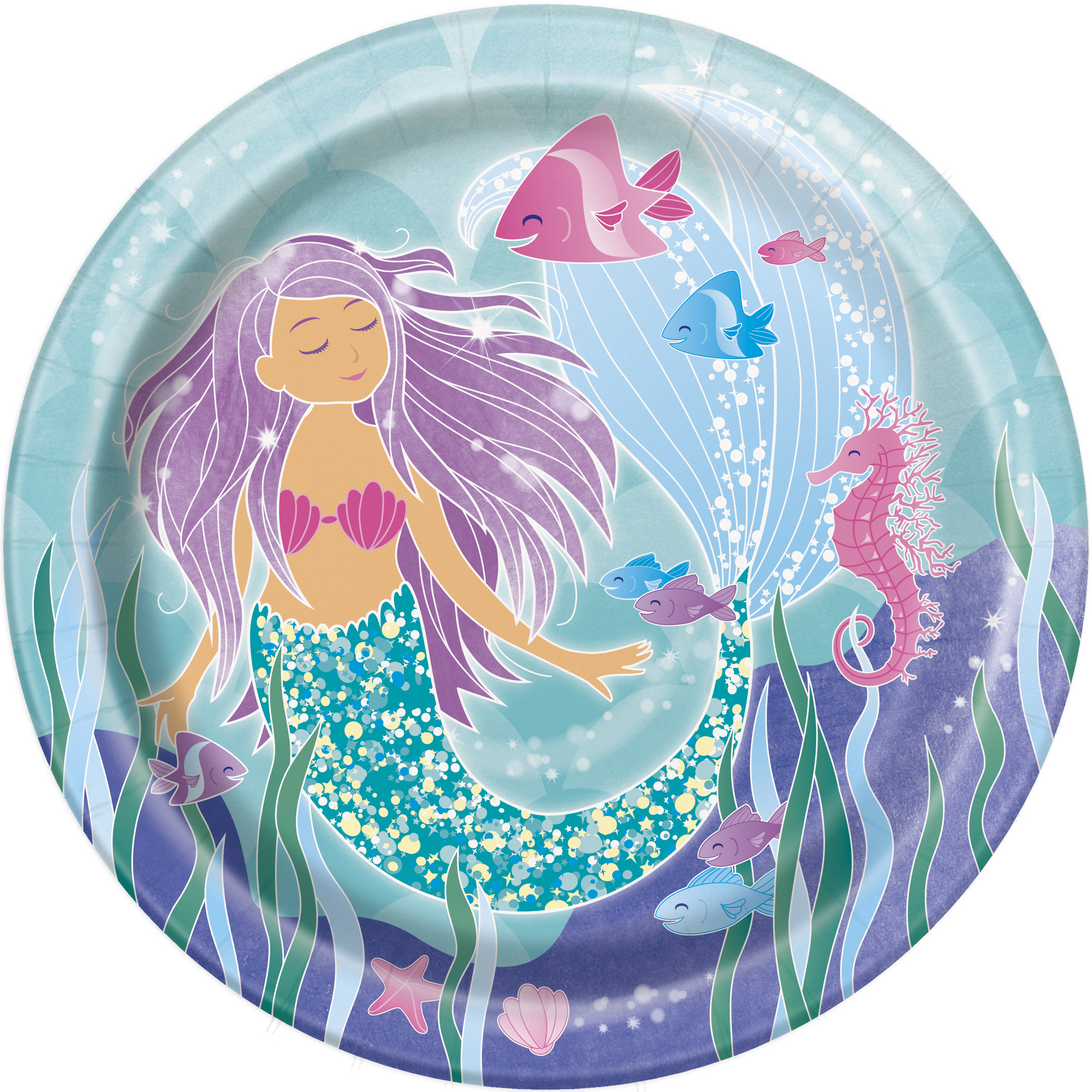 8 x Mermaid Paper Plates Fish Sea Shell Party Tableware Girls Birthday Party  sc 1 st  eBay & 8 x Mermaid Paper Plates Fish Sea Shell Party Tableware Girls ...