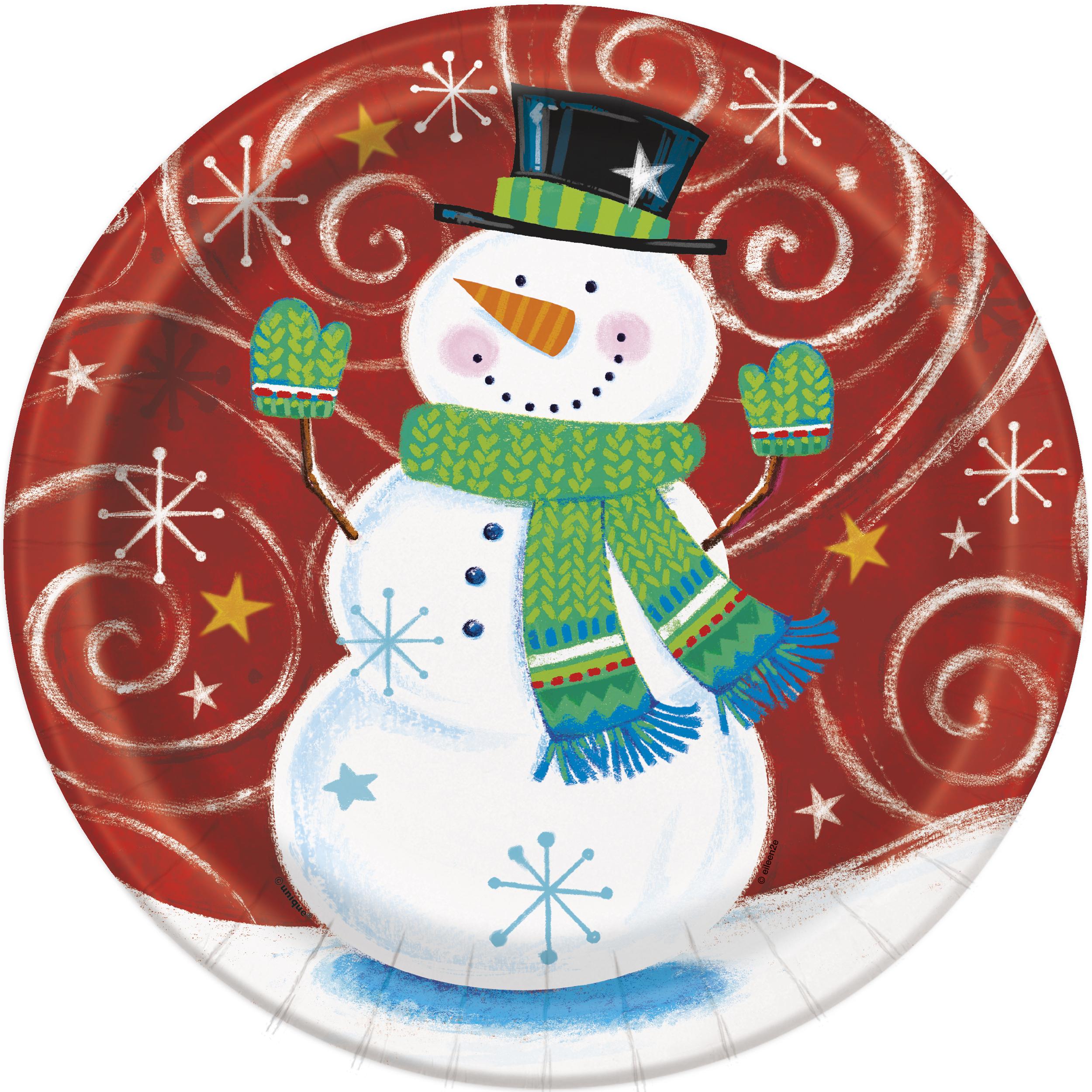 8 X Rot Weihnachten Schneemann Papierteller Kinder Party 23cm | eBay