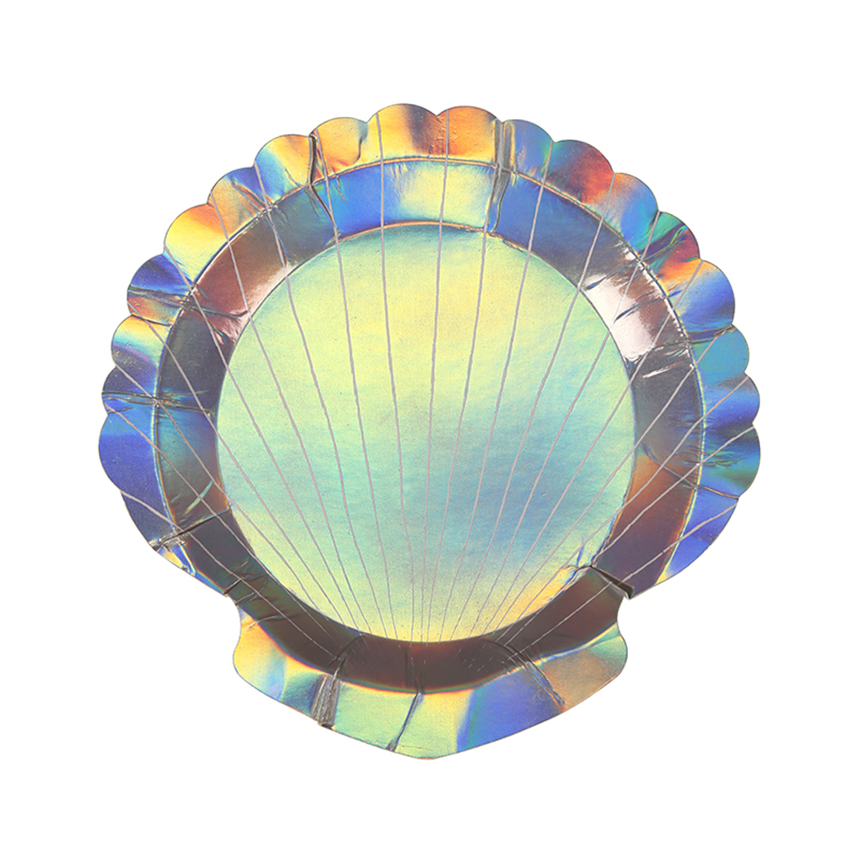 8 Shell Shape Holographic Shiny Paper Party Plates Girls Mermaid Tableware