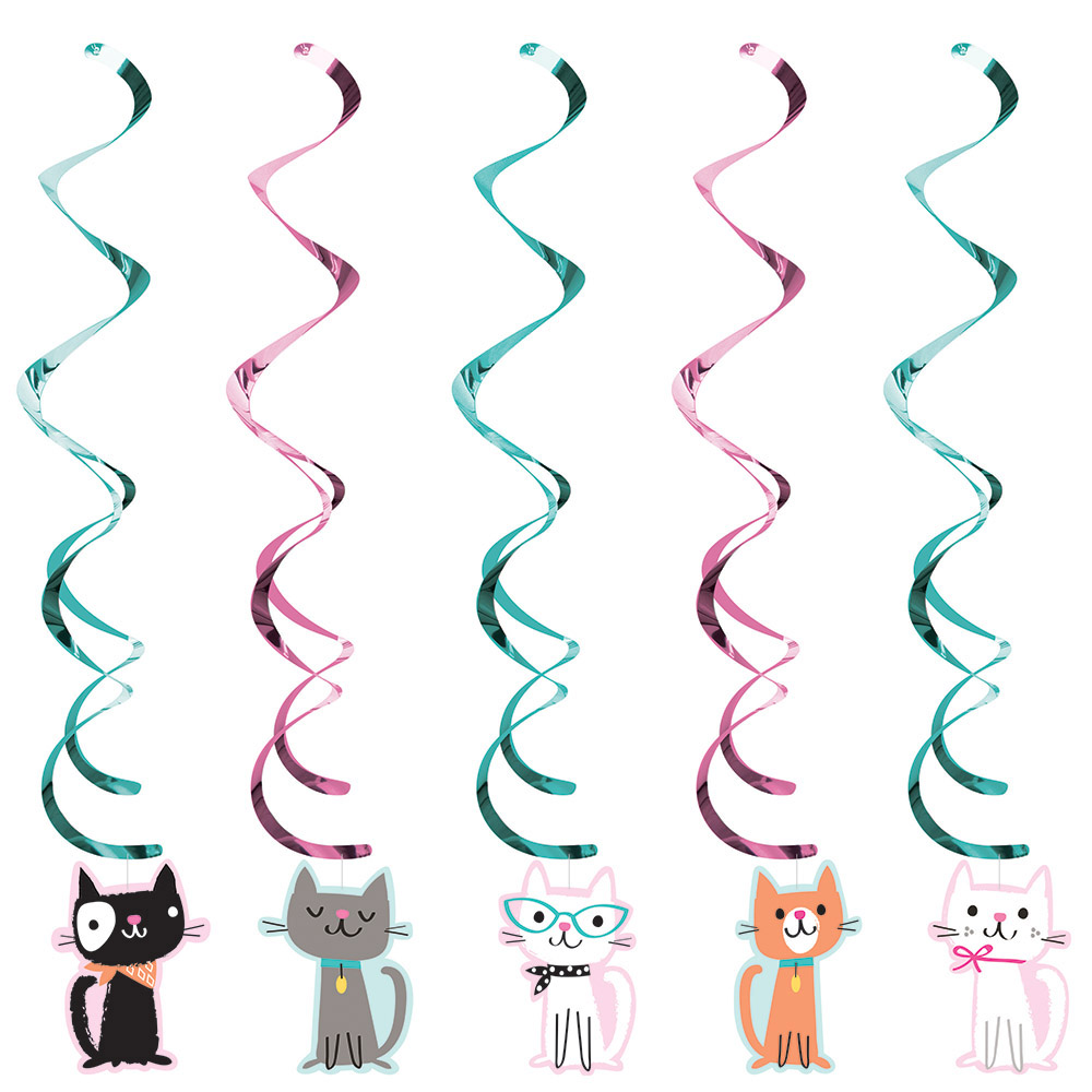 5 X Purrfect Cat Party Hanging Swirl Decorations Birthday Kitten