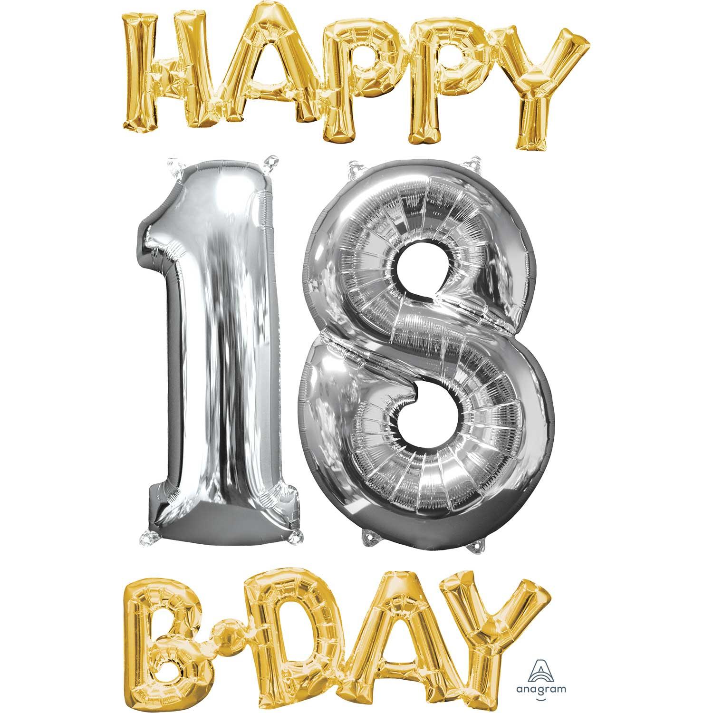 fe7c76dd0 18 decoración de la edad de 18 cumpleaños feliz frase de hoja y número  balón de plata y oro